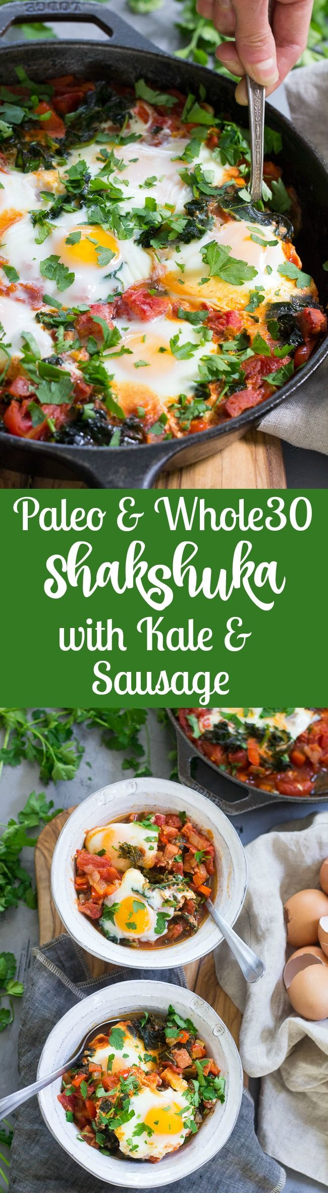 Eggs simmer in a spicy tomato sauce with kale and sausage in this savory and filling Shakshuka. This Paleo and Whole30 Shakshuka makes a comforting and healthy meal for brunch, dinner, or whenever!