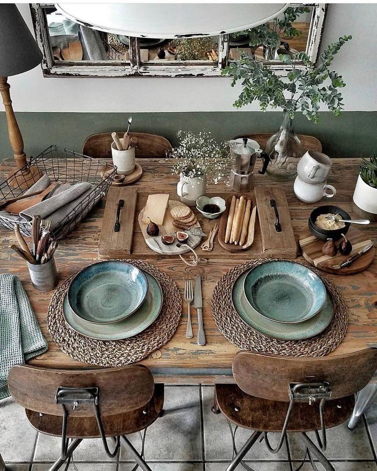 Tischdekoration, grünes Geschirr, Vintage