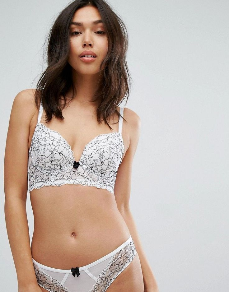 NEW LOOK LACE PUSH UP LONGLINE BRA - WHITE. #newlook #cloth #