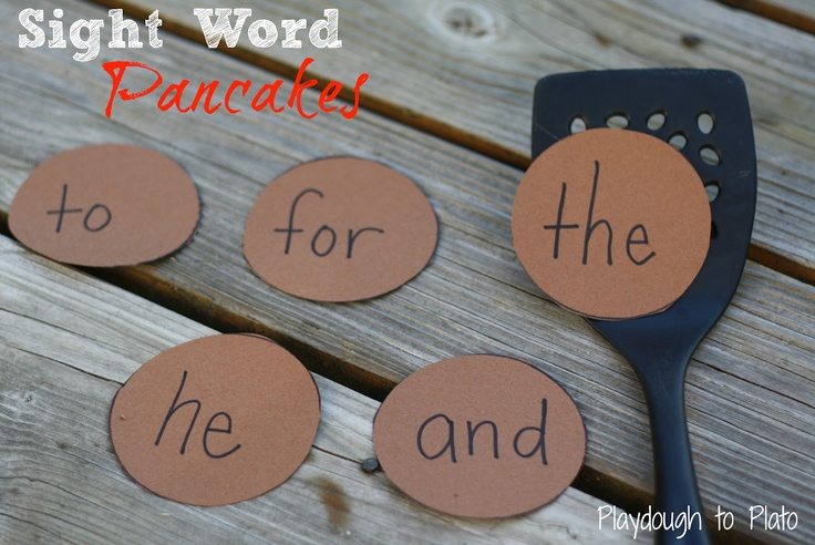 Sight Word Pancakes. Fun, hands-on way to teach children sight words. {Would be a good activity to do with the books If you Give a Pig a Pancake or Pancakes for Breakfast}