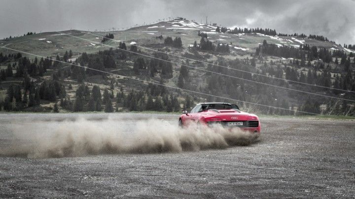 Audi R8 V10 drifting in the Alps - http://passiondriving.de/2014/06/12/thepluses2-einstieg-route-des-grandes-alpes-frankreich/