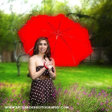 San Antonio Tx Senior Portrait of High School Girl Holding a Bright Red Umbrella.