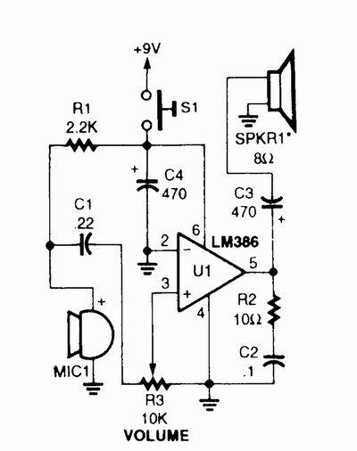 Simple Megaphone Circuit Diagram.