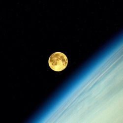 Supermoon from the International Space Station, picture by Russian astronaut Oleg Artemyev via twitter @OlegMKS. #deepcor #science #space #atmosphere #moon #supermoon #ISS #astronaut