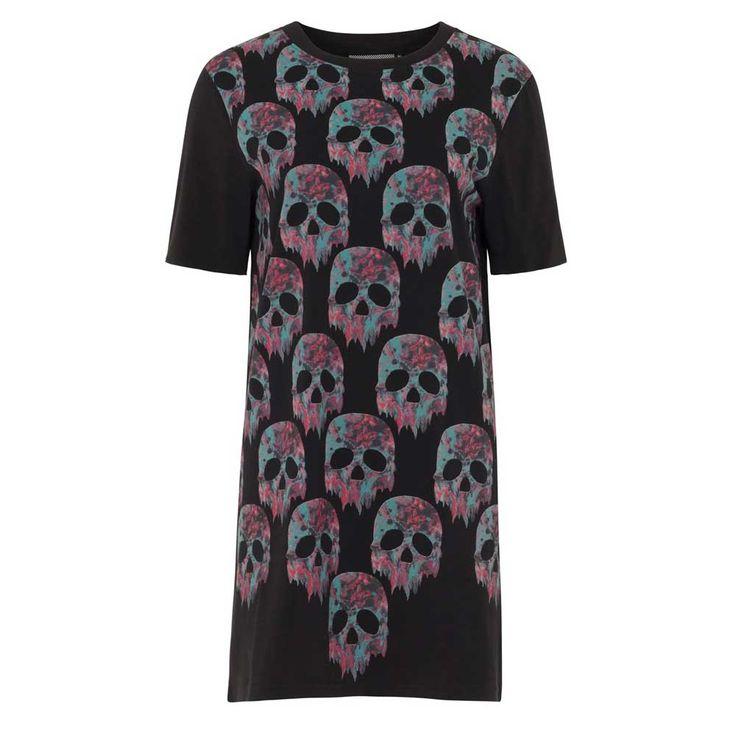 Jawbreaker Melting Marble korte jurk met multicolour schedel print en