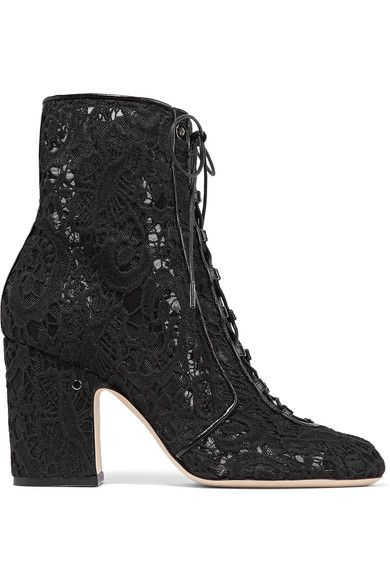 Laurence Dacade - Milly Leather-trimmed Lace Ankle Boots - Black - IT40.5