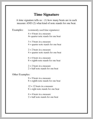 The Time Signature visual aid provides a definition of the top and bottom numbers in a time signature and includes examples of commonly used and less-frequently used time signatures.  For the Elementary - Intermediate level student. www.pianodiscoveries,com