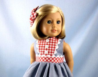 18 Inch Doll Clothes - Red White and Blue Dress and Hair Bow - Fits American Girl Dolls - Doll Clothing 18""