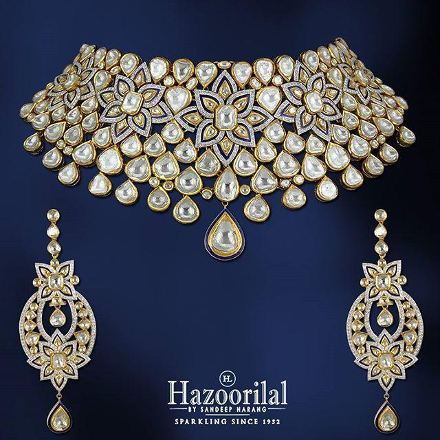 As pure as the lotus this polki necklace adds a floral touch to your bridal trousseau.  #HazoorilalBySandeepNarang #Bridal #Trousseau #Diamonds #KundanPolki #Floral #HLbySN #Hazoorilal