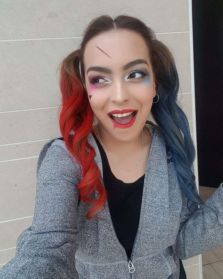 Harley Quinn hair & makeup by @hollyshairaffair