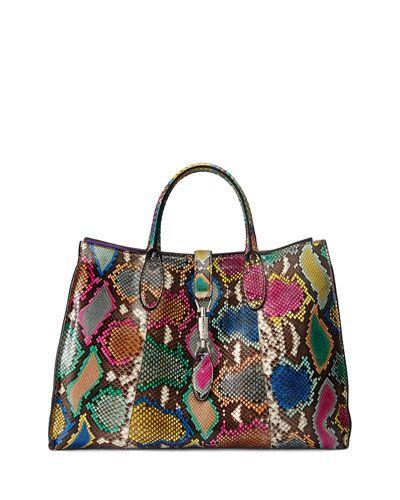 V2R9X Gucci Jackie Soft Medium Python Tote Bag, Multicolor