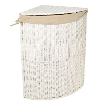 Marvelous Home Collection White Rope Corner Laundry Basket