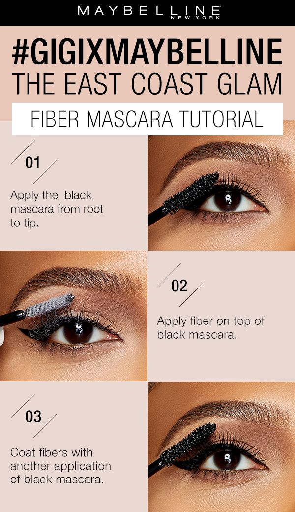 Get voluminous, thick lashes with the gigixmaybelline fiber mascara from the East Coast Glam collection.  First, apply the black mascara from root to tip.  Next, apply the white fibers on top of the black mascara.  Then, coat the fibers with another application of the black mascara. Exclusively at Ulta Beauty!