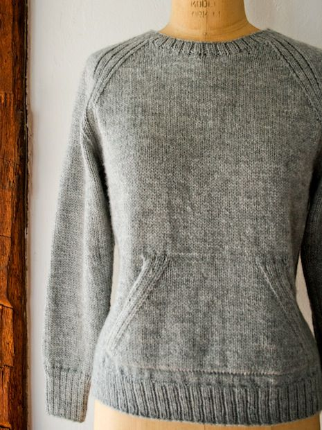 Basic Knitted Sweatshirt Sweater - I'm tired of hoodies but I love the front pocket of a pullover! pattern here: http://www.purlbee.com/the-purl-bee/2013/3/17/lauras-loop-the-sweatshirt-sweater.html