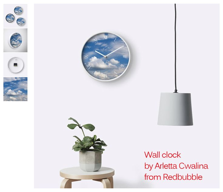 Wall clock with sunny cirrus and cumulus cloudscape mix on the blue sky, clouds in a good weather. #blue #cirrus #cloud #clouds #cloudscape #cumulus #day #daytime #sky #sunny #weather #Redbubble #product #wallclock #clock #gift
