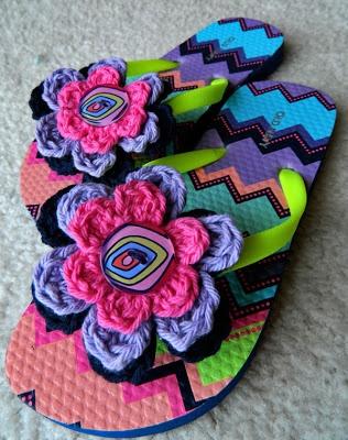 Crochet Embellished Chevron Flower Flip Flops