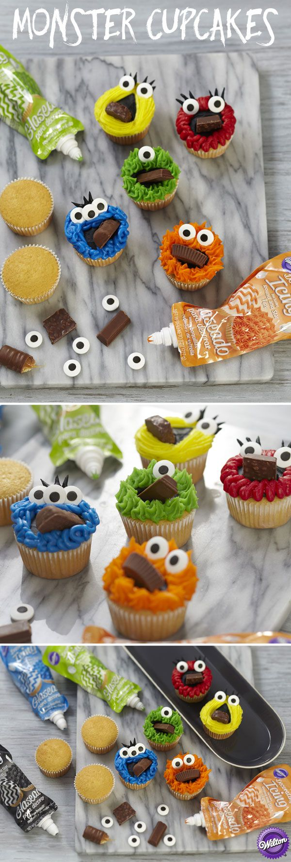 Mischief-makers find it hard to scream on Halloween when you stuff their faces with treats! The cupcake creatures are colorfully decorated with Wilton Icing Pouches and topped with Large Candy Eyeballs.