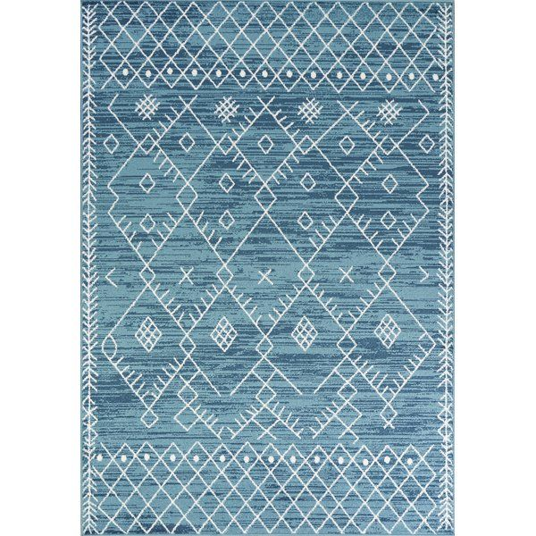 Ocean Blue Escape Area Rug Machine Woven Of 100 Polypropylene With No Backing Made In Turkey Vacuum Regularly Spo Tribal Area Rug Blue Area Rugs Blue Rug