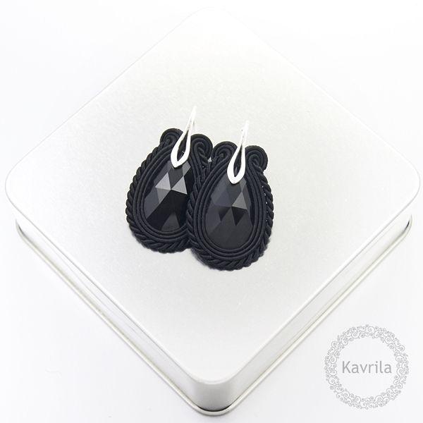 Medium black soutache - kolczyki czarne sutasz KAVRILA #sutasz #kolczyki #wieczorowe #rękodzieło #soutache #handmade #earrings #night #black #kavrila