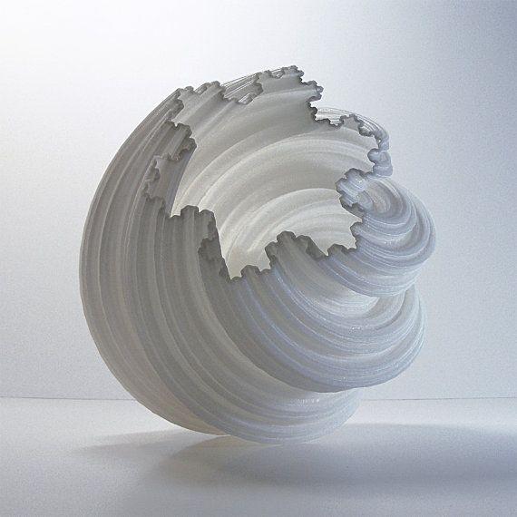 Vase 3D Fractal Spiral Pottery Vase . . . . Modern by MeshCloud
