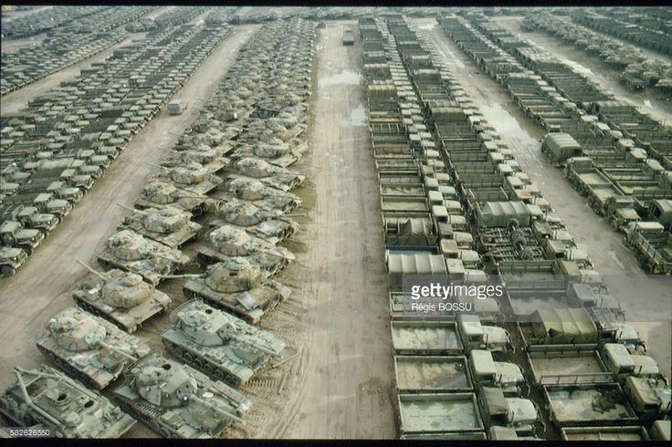 M60 tanks (and other models of weapons and military equipment) on the American storage base near Germersheim; Germany; 1996t