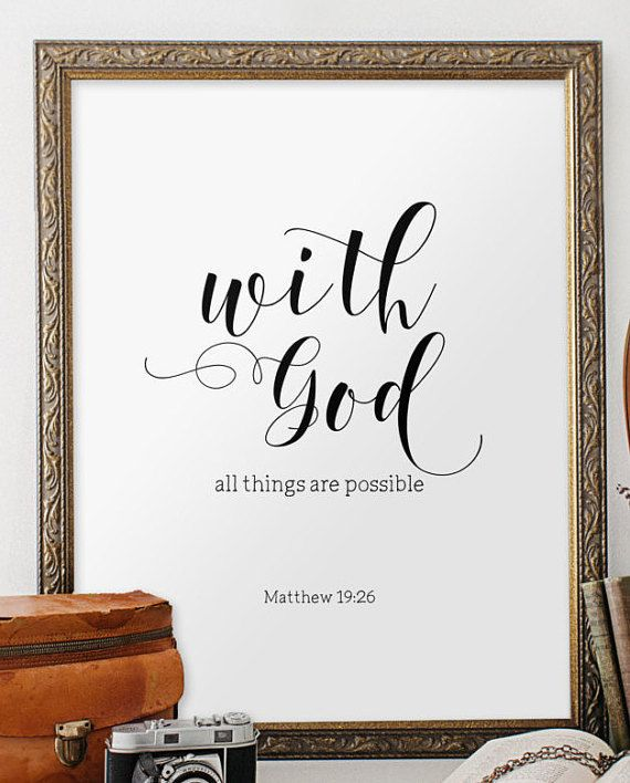 Bible verse art print Inspirational quote by TwoBrushesDesigns