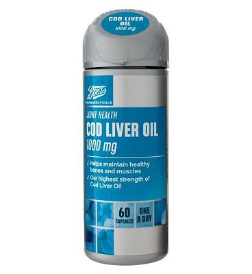 Boots Pharmaceuticals Boots COD LIVER OIL 1000 mg 60 capsules 10149588 16 Advantage card points. Cod Liver Oil and Fish Oil 1000 mg with Vitamins A D Food Supplement 60 capsules FREE Delivery on orders over 45 GBP. (Barcode EAN=5045097866981) http://www.MightGet.com/april-2017-1/boots-pharmaceuticals-boots-cod-liver-oil-1000-mg-60-capsules-10149588.asp