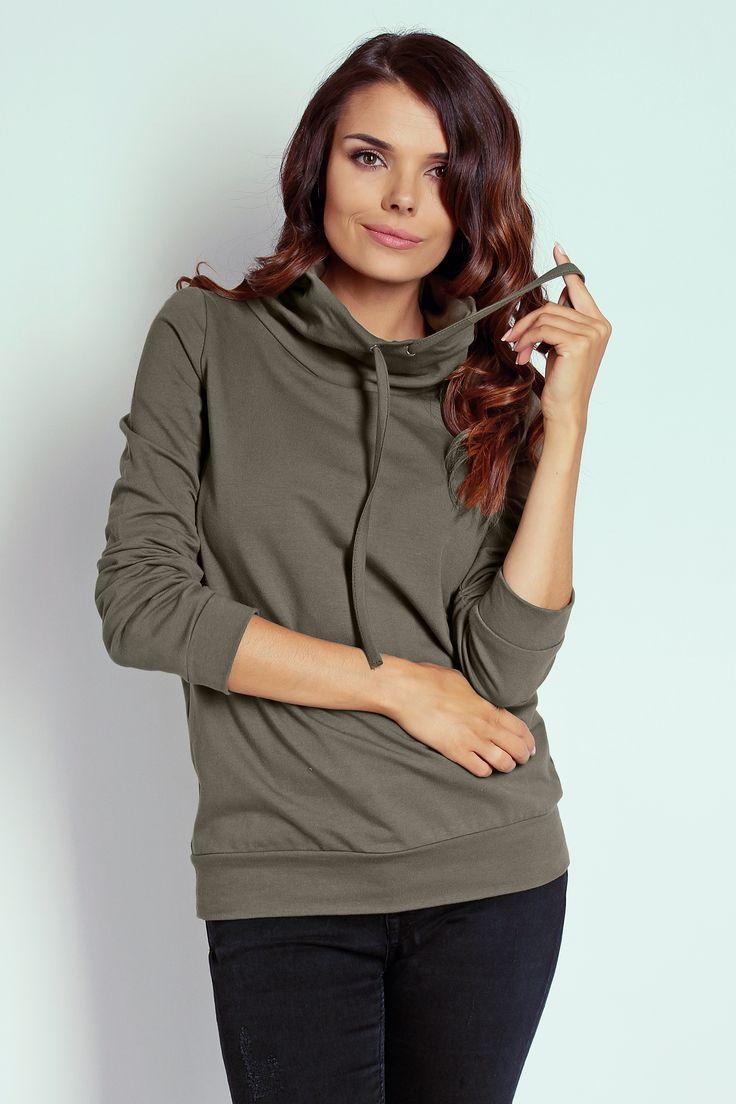 Damska bluza dresowa w kolorze khaki - TheTwiggyShop.com