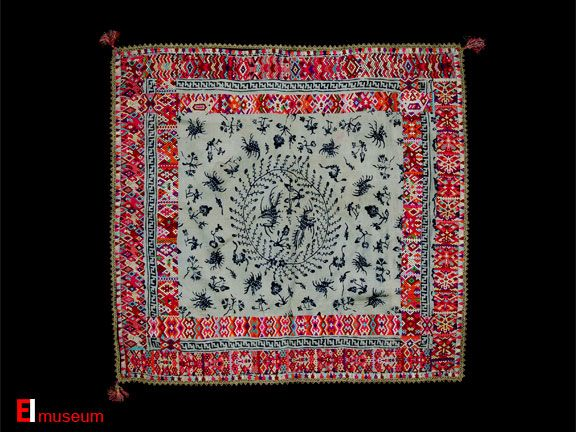 Seputangan Serih -betelnut set cover 19th c. Cirebon batik & Minangkabau embroidery