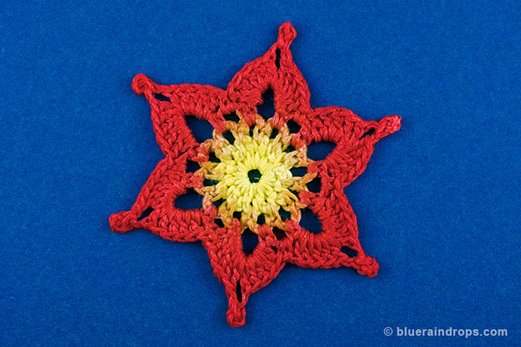 Crocheted snowflake. Free instructions and blocking template here.