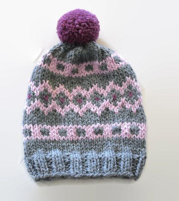 Knit fair isle hat, pom pom hat  Hand Knit Beanie, Gray- Pink- Purple beanie, chunky woman hat, wool hat, winter accessory, warm hat by PepperKnit on Etsy