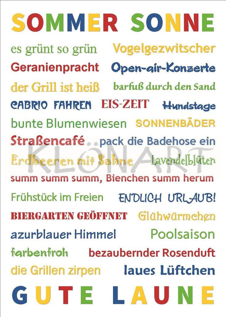 KLÖNART - Kartenkunst und mehr Postkarte  Buchstaben + Worte SOMMER SONNE GUTE LAUNE www.kloenart.de kontakt@kloenart.de www.facebook.com/kloenar