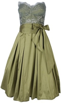French Lace Dress in Olive Metallic - Moss  Spy