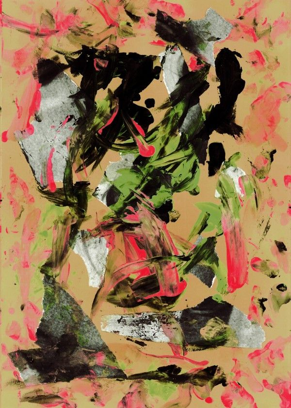 THRASHED! beige by Gasponce Collage, finger painting & acrylics!