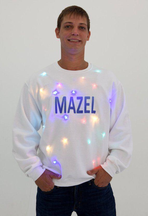 Ugly Hanukkah Sweater Mazel Light Up Chanukah Men And Etsy Most