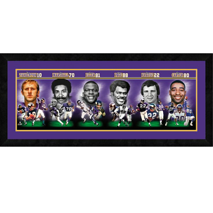 More evidence that Jim Marshall belongs in the Hall of Fame! -- The Vikings Legends Collage by The Danbury Mint A framed collage featuring Vikings legends Fran Tarkenton, Jim Marshall, Carl Eller, Alan Page, Paul Krause and Cris Carter.