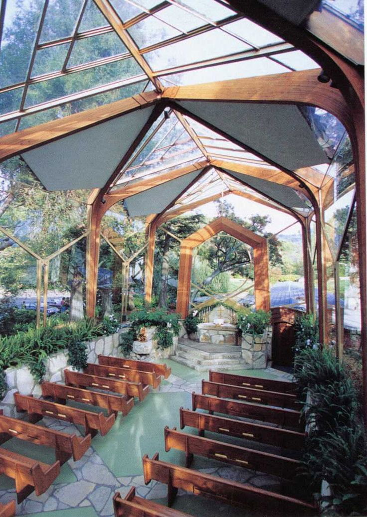 Glass Church-Palos Verdes, CA.  I was in a wedding there in my teens and have gone many times just to contemplate life.  I grew up near this church.  It's free to go in and sit and pray or have some peaceful quiet time. The view of the sea from the front steps is amazing. :)