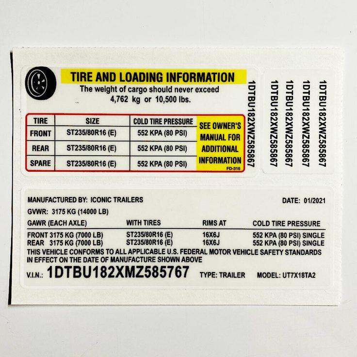 Trailer Id Vin Label Tire Pressure Decal Polybull In 2021 Labels Tyre Size Pressure