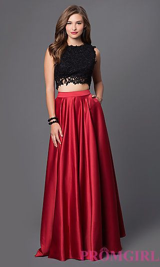 Embroidered Two Piece Prom Dress at PromGirl.com