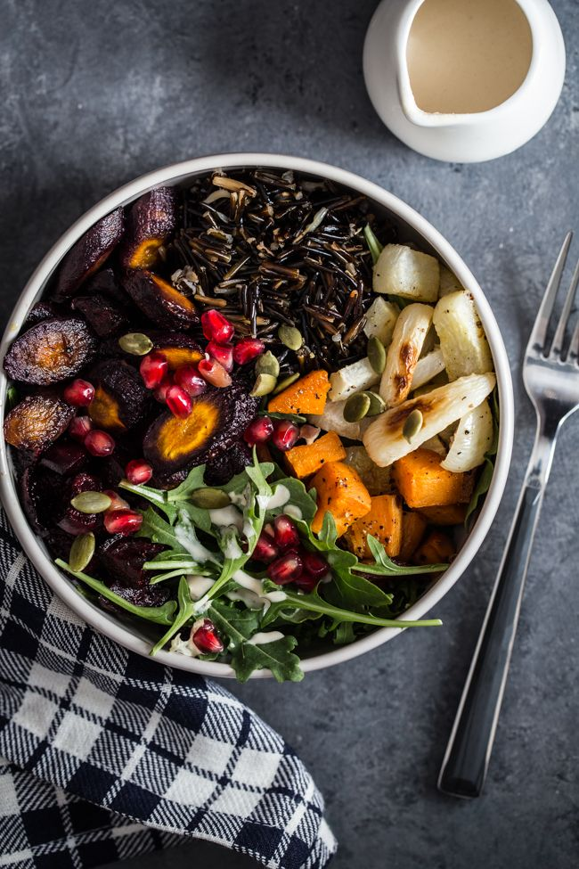 Wild Rice & Roasted Root Vegetable Bowls: