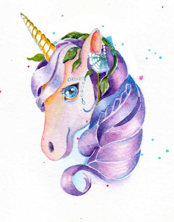 Unicorn Tears Purple Painting Watercolor By Christydekoning 2500 Animal Art And Pet