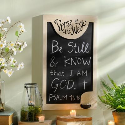 Verse of the Week Chalkboard   Kirklands.  Lnks2Src w/ Pinit Button.  Great for families at home, or church Sunday School rooms or