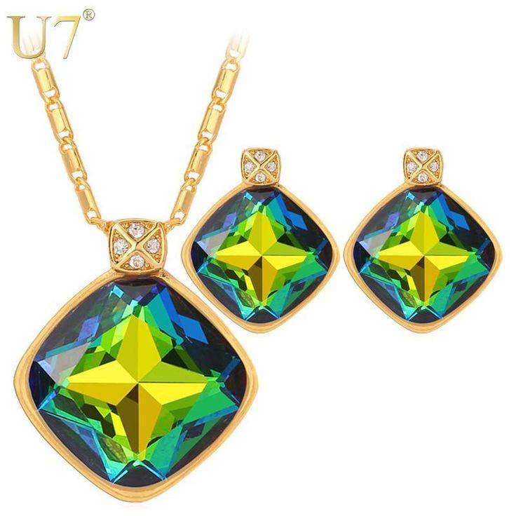 pendientes de cristal y collar del encanto del oro para las mujeres plateado cuadrado de lujo del rhinestone sistemas de la joyería de compromiso