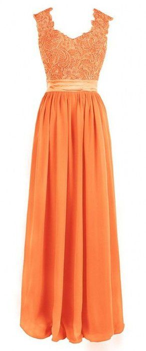 Olidress Women's Sleeveless Long Prom Bridesmaid Dress With Applique Orange US18