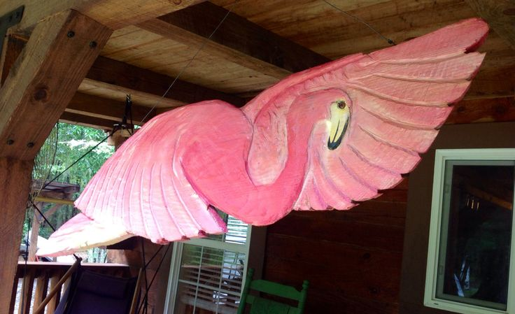 Pink Flamingo Mobile 4ft. 3D tropical sculpture chainsaw wood carving with stainless steel hanger wading bird indoor outdoor home decor art by oceanarts10 on Etsy