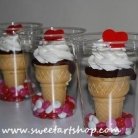 cupcakes baked in an ice cream cone and packaged in a clear plastic cup!