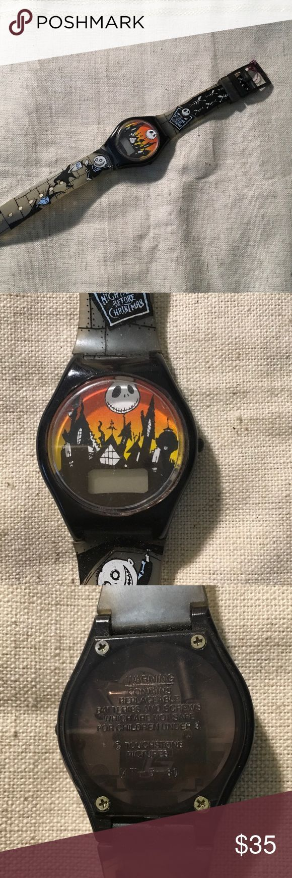 Tim Burton watch The Night Before Christmas vintage Tim Burton watch. Minor wear at tip of band, needs battery. Touchstone pictures Accessories Watches