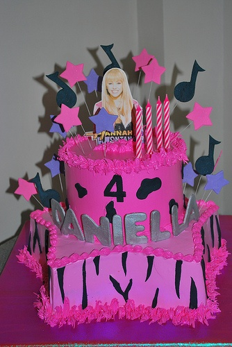 Cake idea for Jess's 10th Birthday - Not so much hanna montana but the colours :)