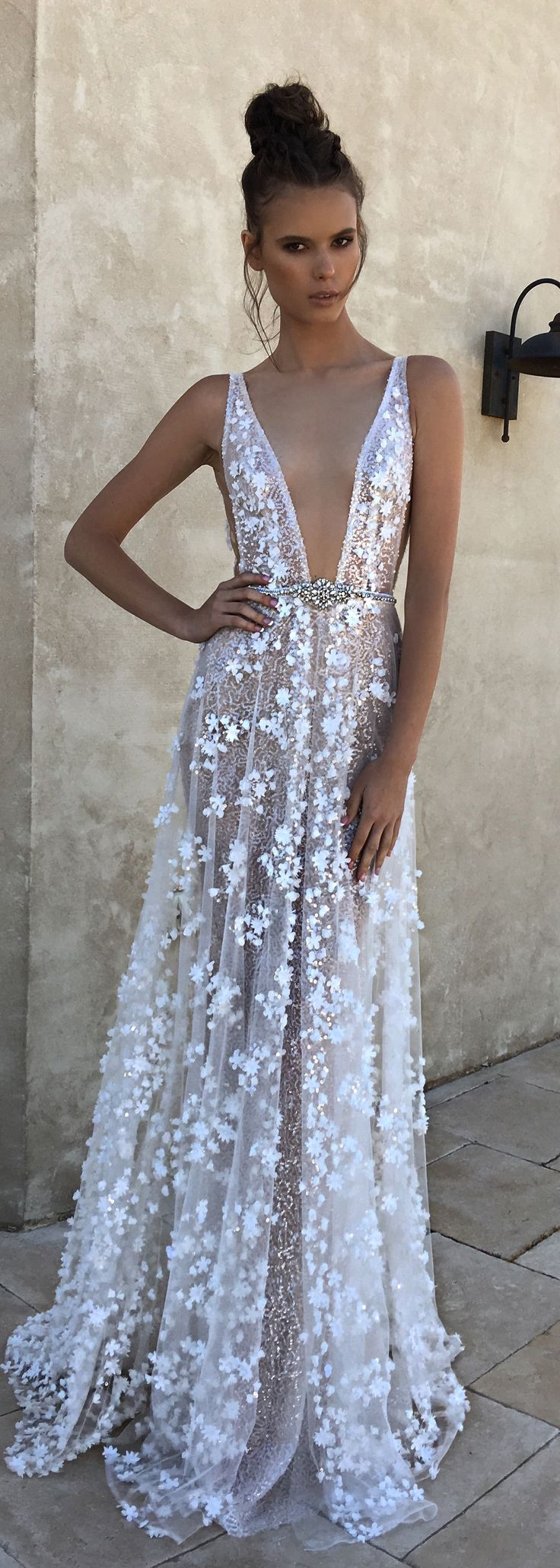 BERTA spring 2018 deep-v neckline full lace beautiful romantic a-line wedding dress with bely - BERTA Spring 2018 Wedding Dresses | @bertabridal
