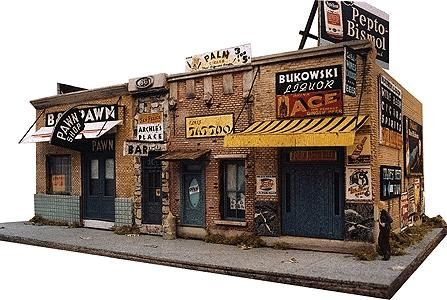 Addams Ave. Part One -- Kit - 5 x 9 12.7 x 22.5cm - HO-Scale (dwn1000) Downtown-Deco HO Scale Model Railroad Buildings